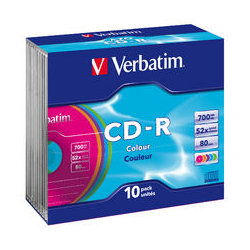 Verbatim CD-R 80 Min Colours Slim Case 10 Pack 52x