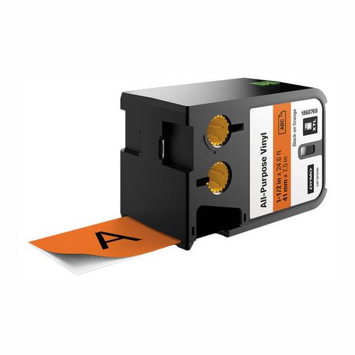 DYMO XTL 41mm Black/Orange Vinyl Cont Tape