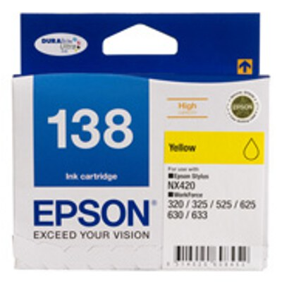 Epson C13T138492 High Capacity Yellow ink cartridge to suit STYLUS NX420, WF 320, 325, 525, 625