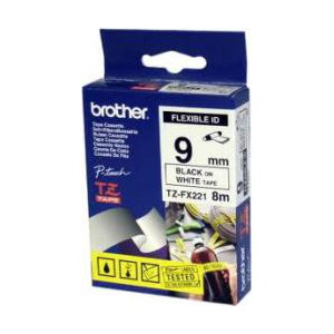 Brother TZ-FX221 Flexible Laminated Black Printing on White Tape (9mm Width 8 Metres in Length)