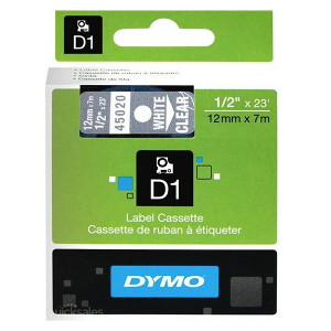 DYMO D1 LABEL CASSETTE 12mm x 7m - WHITE ON CLEAR