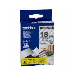 Brother TZ-141 Laminated Black Printing on Clear Tape (18mm Width 8 Metres in Length)