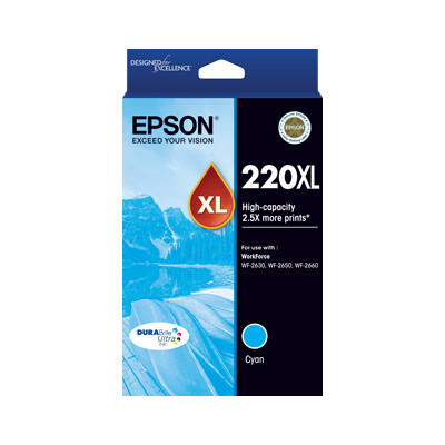 Epson C13T294292 220XL High Capacity DURABrite Ultra Cyan ink (Yields up to 450 pages)