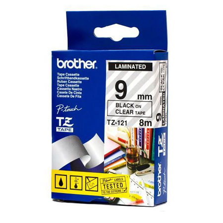 Brother TZ-121 Laminated Black Printing on Clear Tape (9mm Width 8 Metres in Length)