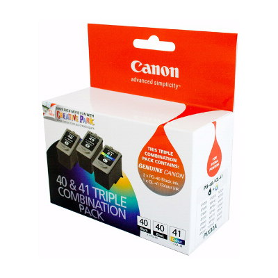Canon PG40CL41VP - 2 x PG40 Pigment Black Ink Cartridges and 1 x CL41 FINE Colour Ink Cartridg