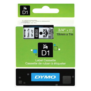 DYMO D1 LABEL CASSETTE 19mm x 7m - BLACK ON CLEAR