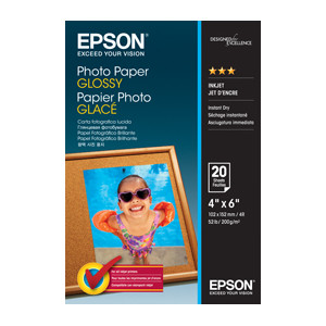 Epson C13S042546 Photo Paper Glossy, 4 Inch x 6 Inch Photo, 20 Sheets Per Pack