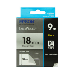 Epson C53S626101 LabelWorks Standard Tape, 18mm Black on Clear, 9m Length