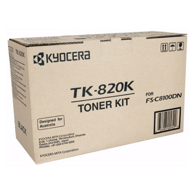 Kyocera TK-820K Black Toner Kit for FS-C8100DN (15,000 Yield @ 5%)