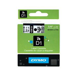 DYMO D1 LABEL CASSETTE 6mm x 7m - BLACK ON CLEAR