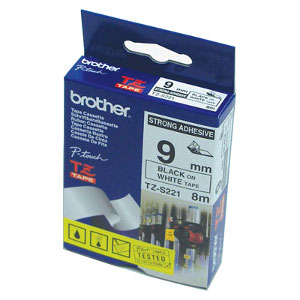 Brother TZ-S221 Strong Adhesive Laminated Tape Black Printing on White Tape (9mm Width 8 Metres in L