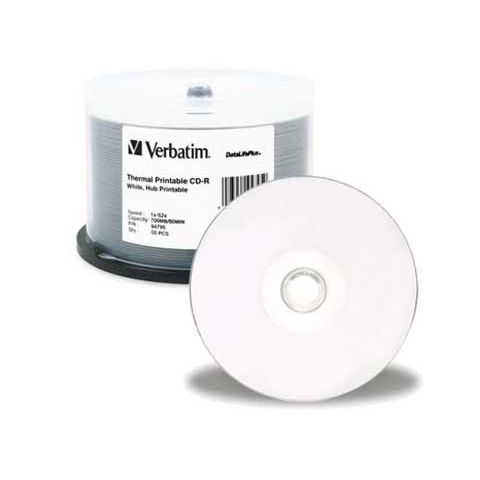 Verbatim DataLifePlus CD-R 80 Min White Thermal 50 Pack Spindle 52x