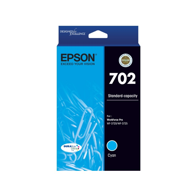 Epson C13T344292 Standard Yield 702 Cyan DURABrite Ink Cartridge