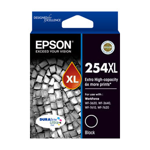 Epson C13T254192 254XL Extra High Capacity Black Ink Cart for WF3620, WF7620 (Yields up to 2200 pgs)