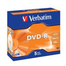 Verbatim 95070 DVD-R 4.7GB Jewel Case 5 Pack 16x