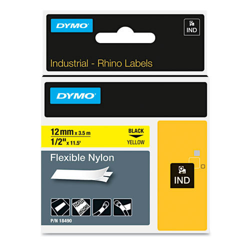 DYMO SD18490 Flexible Nylon 12mm Black on Yellow