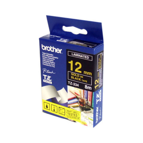 Brother TZ-344 Laminated Gold Printing on Black Tape (18mm Width 8 Metres in Length)