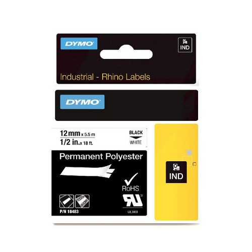 DYMO SD18483 Permanent Polyester 12mm Black on White