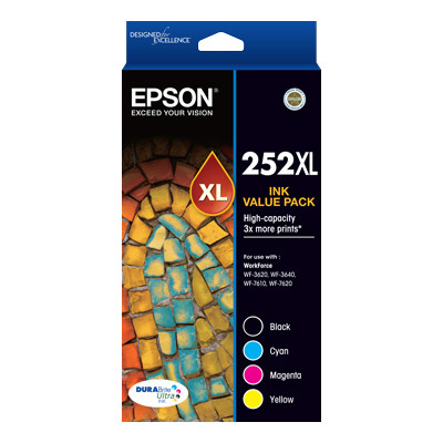 Epson C13T253692 252XL High Capacity 4 Colour Value Pack Blk/Cy/Mag/Yel for WF3620,7620 (1100pg ea)