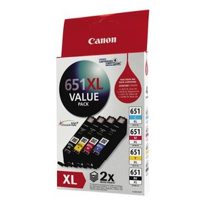 Canon CLI651XLVP Value Pack Inks including CLI651XLBK, CLI651XLC, CLI651XLM and CLI651XLY