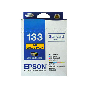 Epson C13T133694 Standard Capacity 5 Ink Value Pack, 2x Black, 1x Cyan, 1x Magenta, 1x Yellow