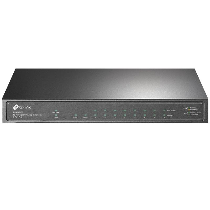 TP-Link TL-SG1210P 10-Port Unmanaged Gigabit Desktop Switch with 8-Port PoE+