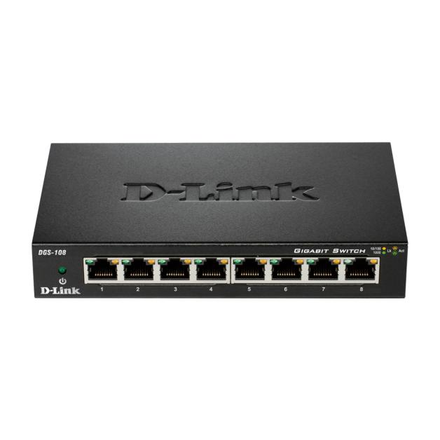 D-Link DGS-108 - 8-Port Gigabit Desktop Switch (Metal Housing)