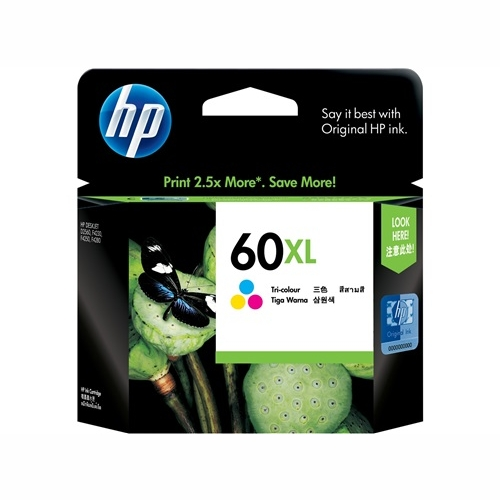 HP CC644WA #60 XL High Yield Tri Colour Ink Cartridge (440 page yield)