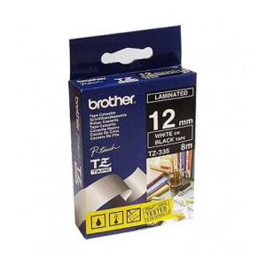 Brother TZ-335 Laminated White Printing on Black Tape (12mm Width 8 Metres in Length)