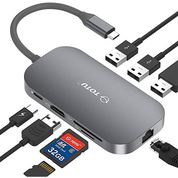 Totu TT-HB001C USB C Hub, 9-in1 Type C Hub with Ethernet