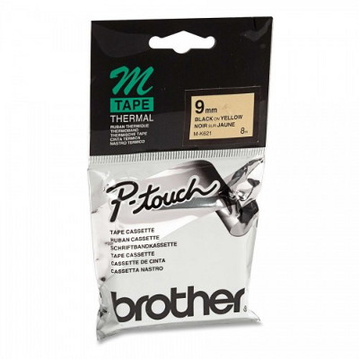 Brother M-K621 Non Laminated Black Printing on Yellow Tape (9mm Width 8 Metres in Length)