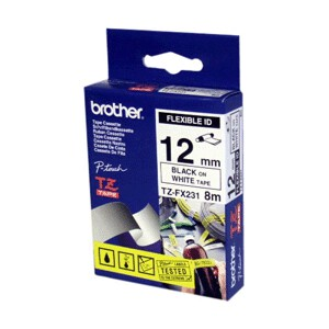 Brother TZ-FX231 Black Printing on White Tape (12mm Width 8 Metres in Length)