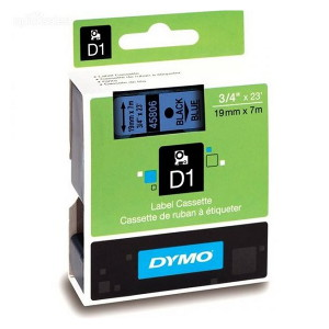 DYMO D1 LABEL CASSETTE 19mm x 7m - BLACK ON BLUE