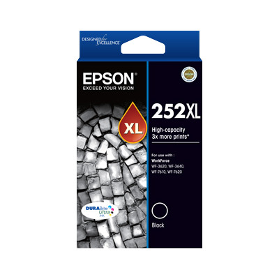 Epson C13T253192 252XL High Capacity Black Ink Cartridge for WF3620, WF7620(Yields up to 1100pages)