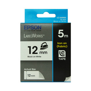 Epson C53S625103 LabelWorks Iron-on Tape, 12mm Black on White, 5m Length