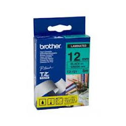 Brother TZ-731 Laminated Black Printing on Green Tape (12mm Width; 8 Metres in Length)