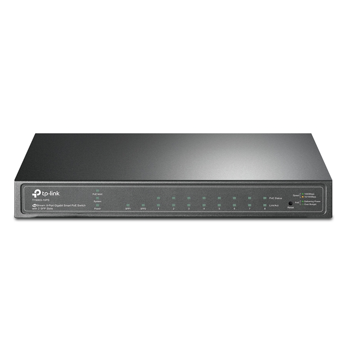 TP-Link T1500G-10PS (TL-SG2210P) 8-Port Gigabit Smart PoE Switch with 2 SFP Slots