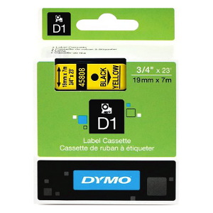 DYMO D1 LABEL CASSETTE 19mm x 7m - BLACK ON YELLOW