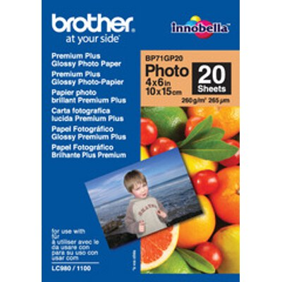 Brother BP-71GP20 Premium Plus Glossy Photo Paper, 4x6 Inch (20 sheets)