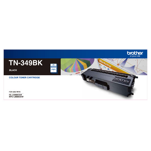 Brother TN-349BK Super High Yield Black Toner, 6000 pages