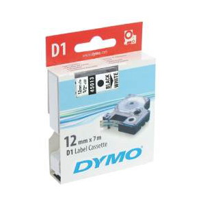DYMO D1 LABEL CASSETTE 12mm x 7m - BLACK ON WHITE