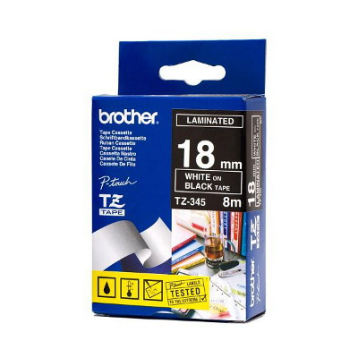 Brother TZ-345 White Printing on Black Tape (18mm Width 8 Metres in Length)
