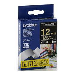 Brother TZ-334 Laminated Gold Printing on Black Tape (12mm Width 8 Metres in Length)