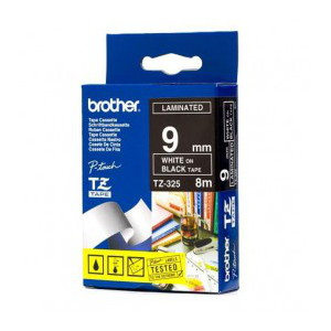 Brother TZ-325 Laminated  White Printing on Black Tape (9mm Width 8 Metres in Length)