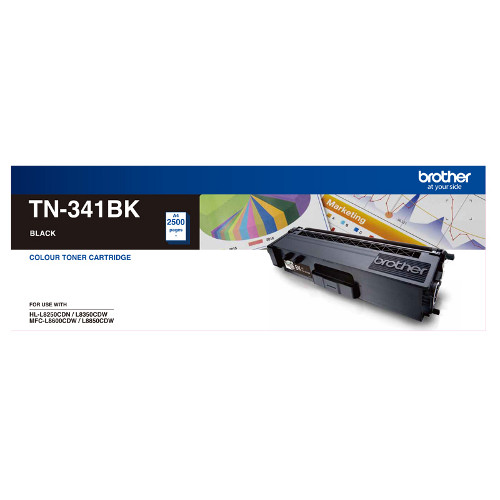 Brother TN-341BK Standard Yield Black Toner, 2500 pages