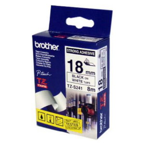 Brother TZ-S241 Strong Adhesive Laminated Tape Black Printing on White Tape (18mm Width, 8M Length)