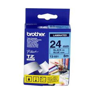 Brother TZ-551 Laminated Black Printing on Blue Tape (24mm Width 8 Metres in Length)