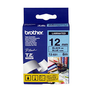 Brother TZ-531 Laminated Black Printing on Blue Tape (12mm Width 8 Metres in Length)