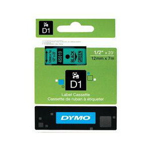DYMO D1 LABEL CASSETTE 12mm x 7m - BLACK ON GREEN