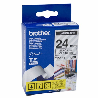 Brother TZ-151 Laminated Black Printing on Clear Tape (24mm Width 8 Metres in Length)